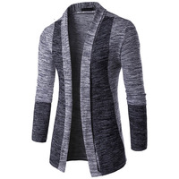 New Arrival Men Patchwork Sweater Fashion Pattern Design Long Sleeve Cardigan Robe Sweater Slim Casual Sweater