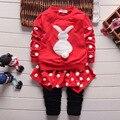Nova moda primavera outono do bebê meninas terno de manga longa crianças + calças conjuntos de roupas crianças 2 pcs conjunto de roupas 108