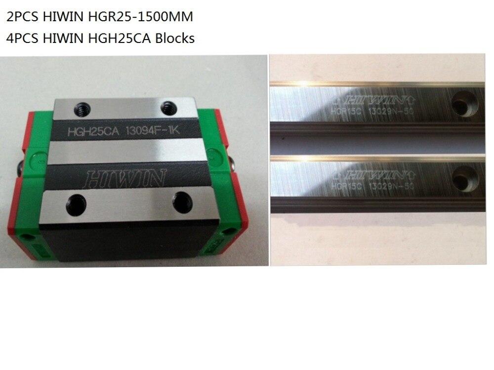 2pcs 100% Original Hiwin linear rail HGR25-1500mm + 4pcs HGH25CA narrow blocks fress shipping to ukraine egr30ca 1500mm 2pcs and egh30ca 4pcs hiwin from taiwan linear guide rail