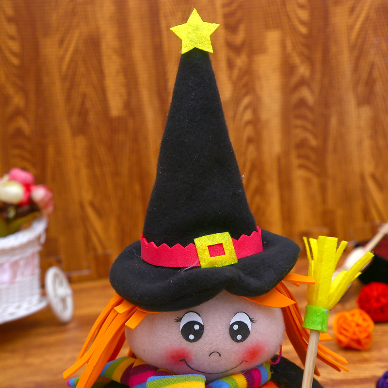 New Halloween Witch Plush Stuffed Dolls Toys Broom Ghost 5-Stars Witch Cartoon Christmas Gift Cosplay Decor 3pcslot 12 x 21cm (2)