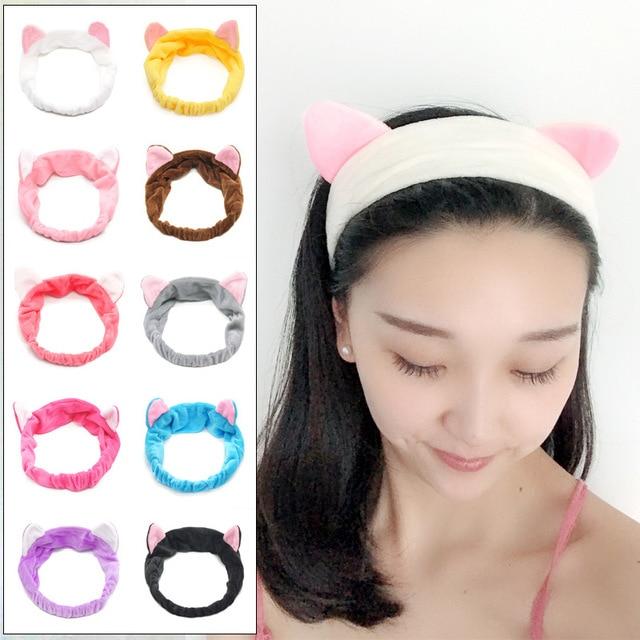 Moda Kadın Headbands Sevimli Kedi Kulaklar saç bandı Kadınlar Için Kız Yıkama Yüz Makecup Şapkalar Lady Banyo Maskesi Tutucu saç aksesuarları