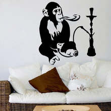 Animal Monkey Wall Sticker Hookah Relax Arabic Home Decor Vinyl Art Removable Poster Mural Fashion Ornament Decals W359