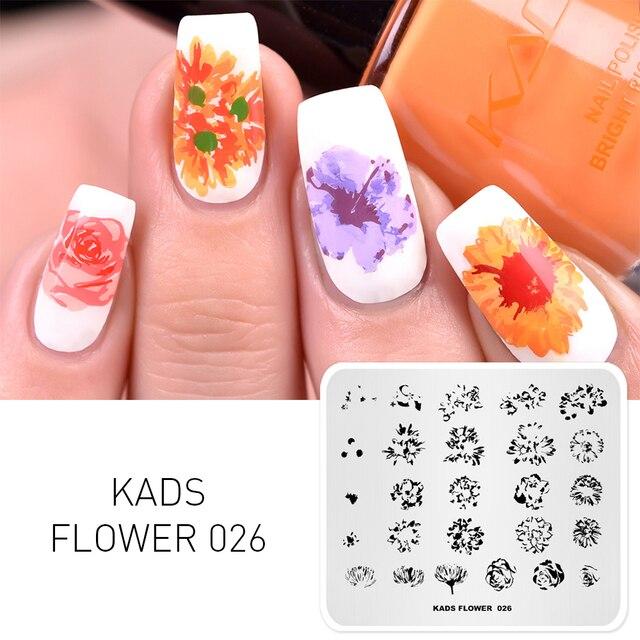 Kads Nail Art Tłoczenia Płyta Obraz Kwiat Szablon Manicure Paznokci