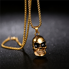Skull Head Cool Pendant Necklace Stainless Steel Gold Color Punk Gothic Biker High Quality Jewelry beier stainless steel biker jason voorhees hockey halloween mask pendant necklace with red colour antique cool jewelry bp8 362