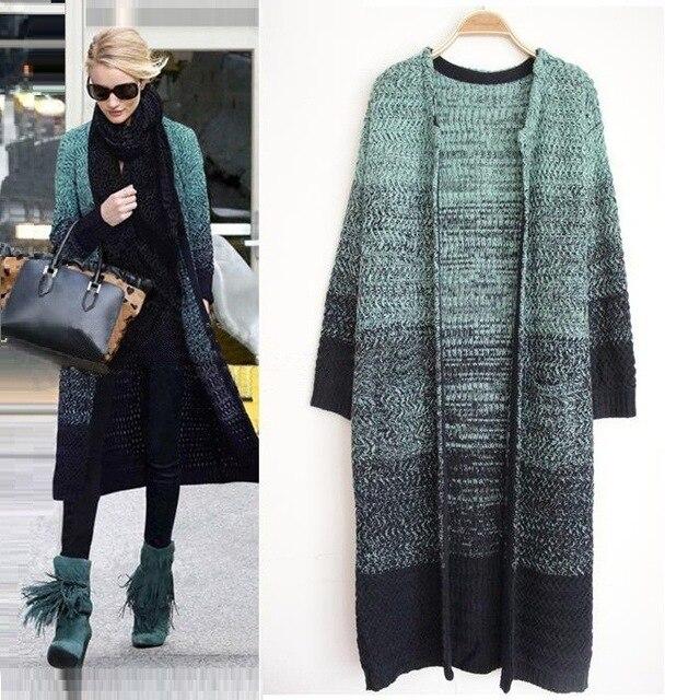 2016 длинный отрезок градиент цвета свитера трикотажная кофта свитер пальто куртки женщины с длинным рукавом потяните femme пончо жилет