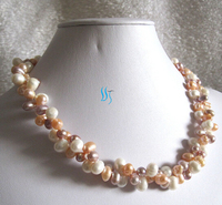 RHJ0055 6 7mm Multi Color 2Row Freshwater Pearl Necklace White Pink Lavender 28% Discount NEW
