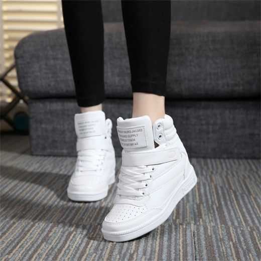 New 2017 spring autumn ankle boots heels shoes women casual shoes height increased high top shoes mixed color Winter boots 117