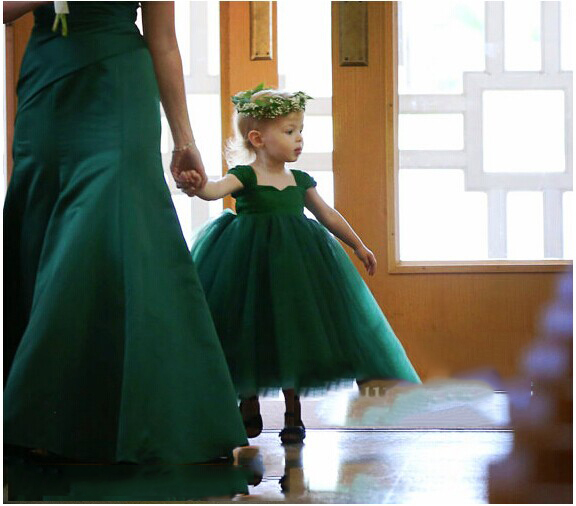 Green Little Girls Dresses Ankle Length Satin Tulle Ball Gown Kids Wedding Party Dresses Flower Girls Dresses