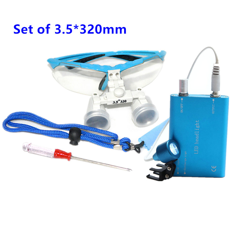 New Style 3.5X320mm Portable Dentist Surgical Medical Binocular Dental Loupe Optical Glass with LED Head Light Lamp Blue AAA+
