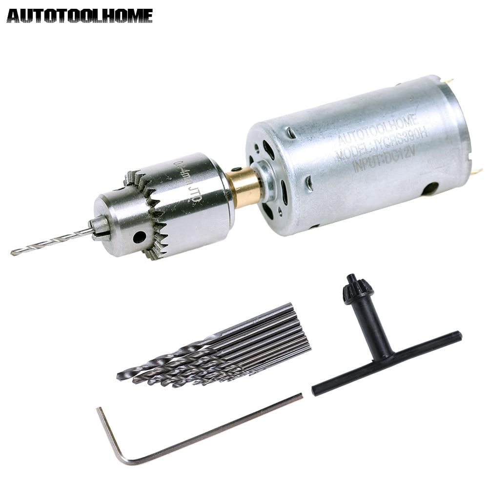 AUTOTOOLHOME Mini DC 12V Electric Hand Drill Motor PCB Press Drilling Compact Set 0.5-3mm Twist Bits 0.3-4mm JT0 Chucks Tool