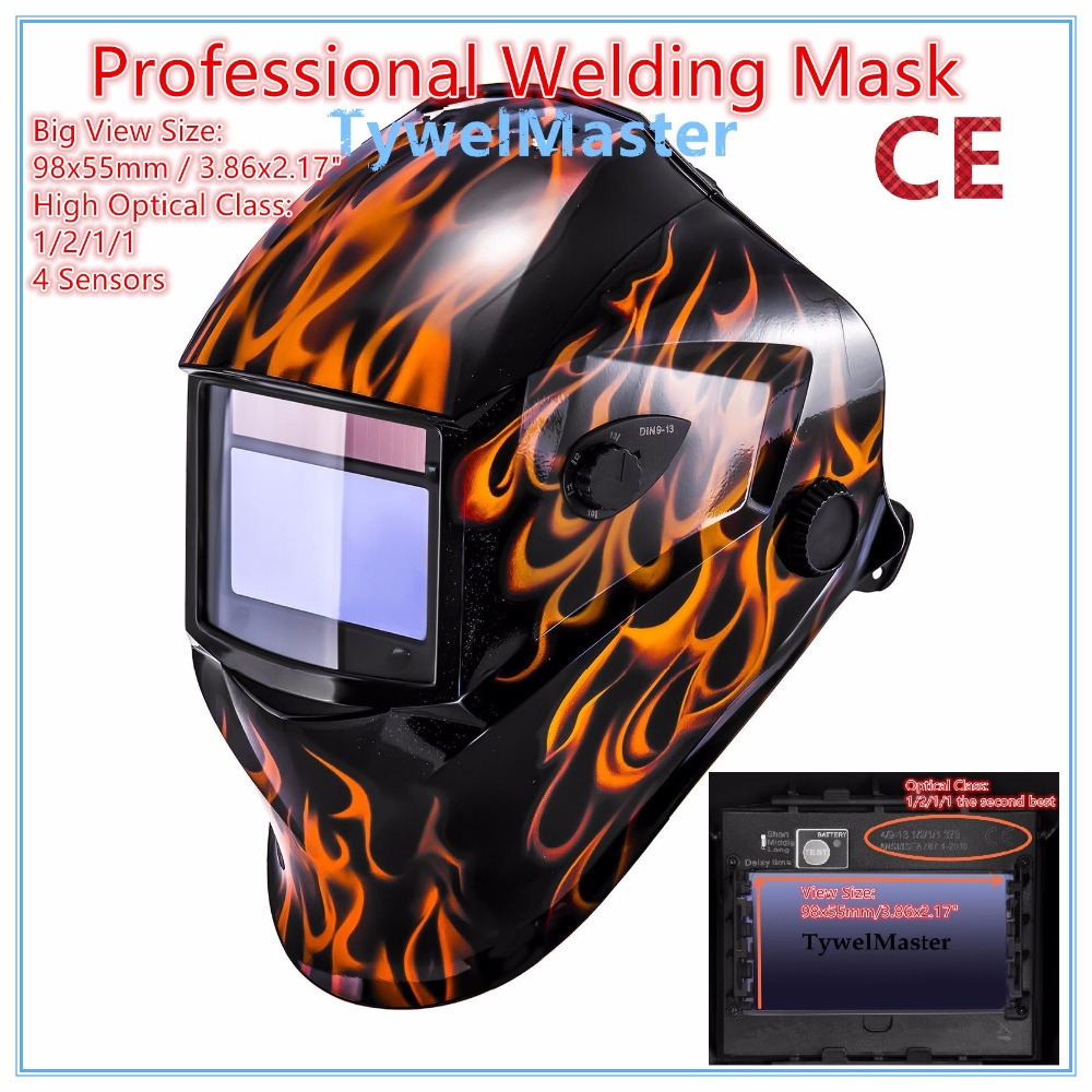Professional Welding Helmet Welder Mask 98x55mm 4 Sensors 1211 Optical Class Filter Size Solar Auto Darkening CE UL CSA Approval new solar power auto darkening welding mask helmet eyes shield goggle welder glasses workplace safety