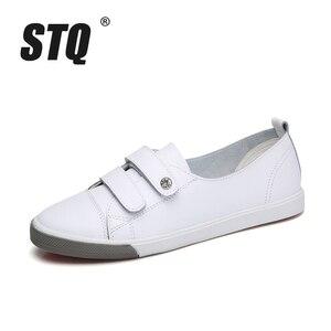 Image 2 - STQ 2020 automne femmes chaussures plates dames sans lacet ballerines mocassins en cuir chaussures femmes décontracté bateau chaussures dames blanc baskets 180