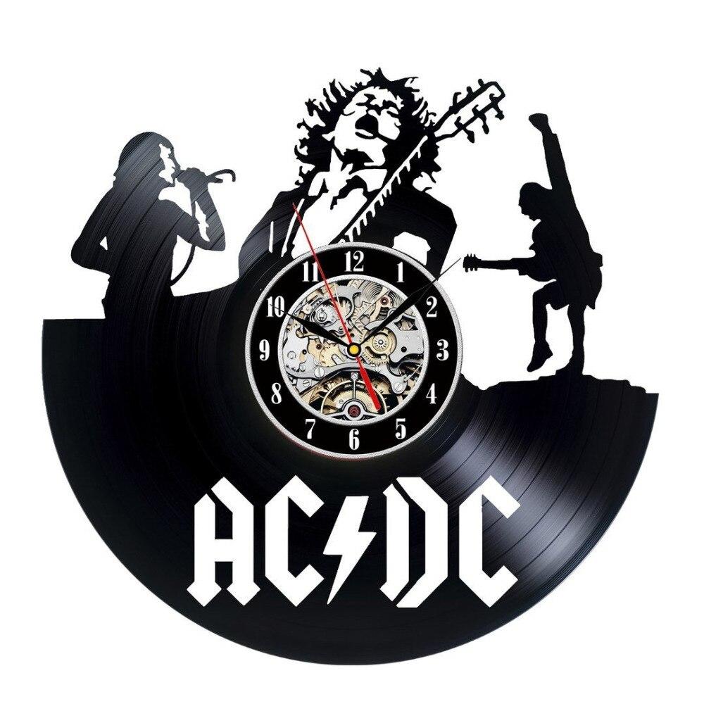 Acdc thema wanduhr schallplatte uhr einzigartige schwarz vinyl cd uhr wohnzimmer decor amerian - Wanduhr schallplatte ...