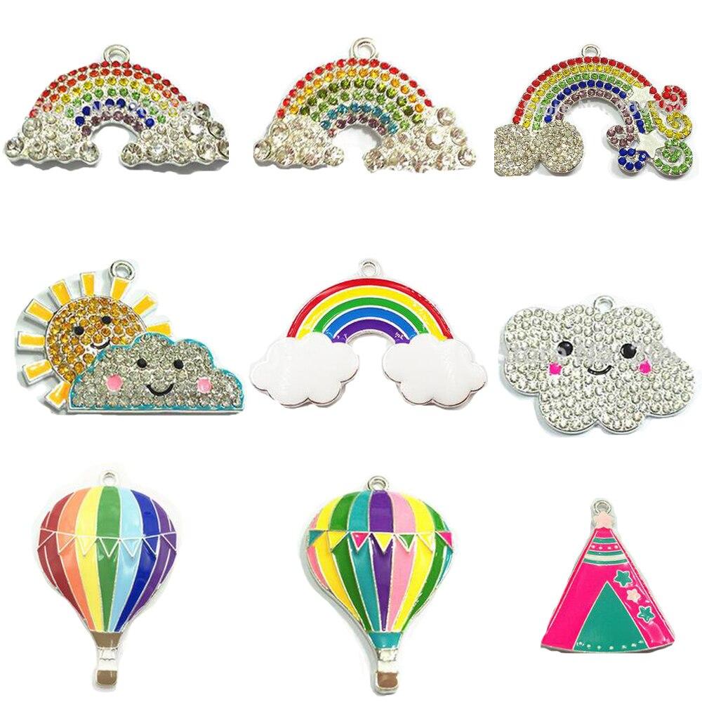 (scegliere Lo Stile Prima) Ogni Stile 10 Pz/borsa Smalto/chunky Strass Arcobaleno, Clound, Sole, Fuoco Balloon/tenda Pendenti Buon Sapore
