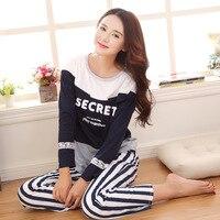 Free Shipping Spring Women Pajama Sets Nightgrown Girl Pyjamas Full Sleeved Pijama Stripe Pants Sleepwear Female