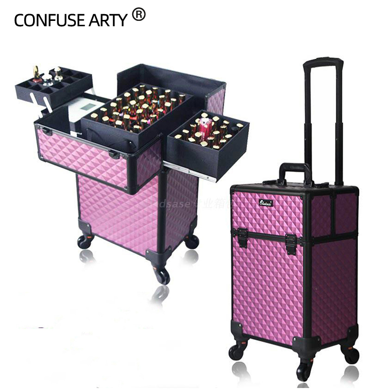 Professional Makeup Trolley Case Large Capacity Universal Semi-permanent Multilayer Multi-purpose Empty Cosmetic Bag Suitcase