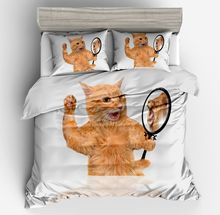 Lai Yin Sun Drop shipping Duvet cover sets Pillow cases  Cartoon Cute Cat with a Lions Heart HD digital 3d Animal bedding set