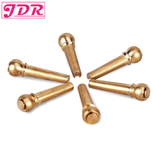 JDR Guitar Bridge Pins 6pcs Brass Acoustic Pins for Guitar Replacement Parts Made of Coppe 28mm Length 6.5mm Install Diameter цена и фото
