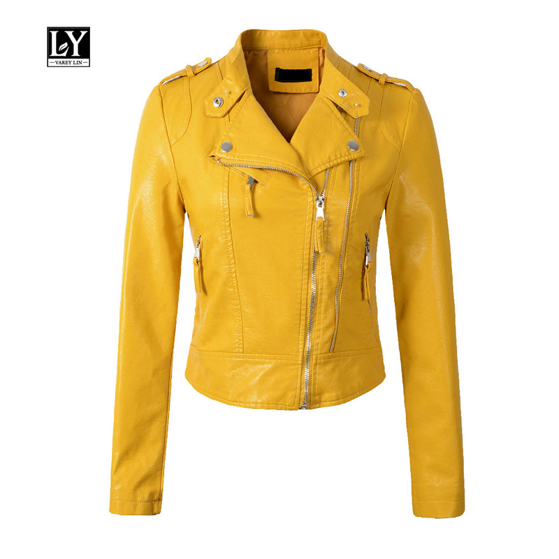 Ly Varey Lin New Women Pu   Leather   Jacket Short Design Epaulet Zippers Faux Soft   Leather   Motorcycle Black Pink Yellow Outwear