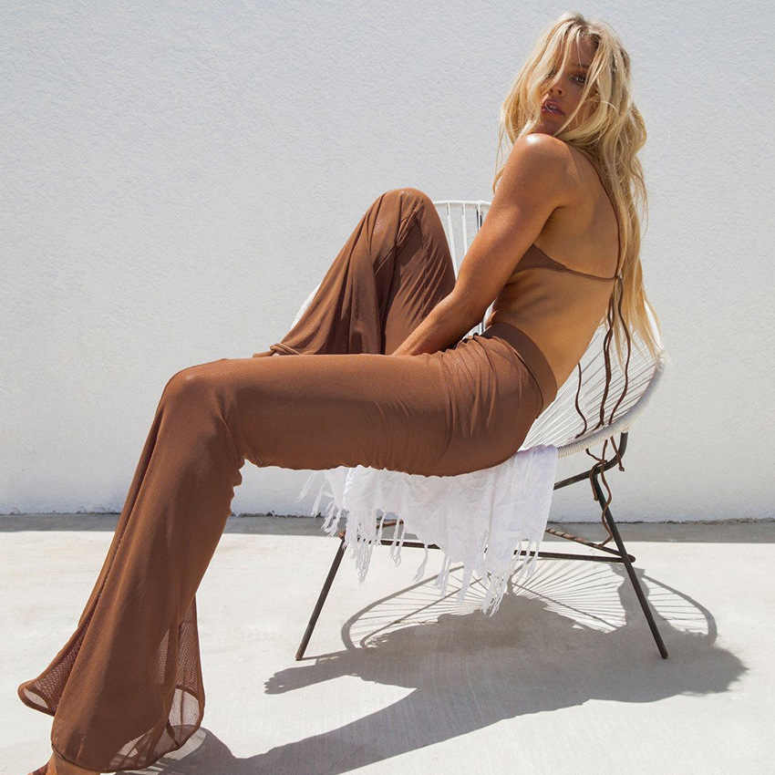 2018 New Fashion Summer Boho Women Mesh Transparent Perspective Wide Leg Pants ultra Thin Net Elastic Sexy See Through Trousers