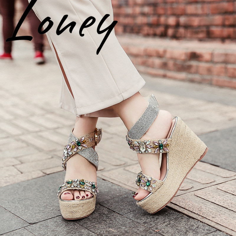 Loney New Jewel Crystal Buckle Strap Summer Sandals Open Toe HIgh Heel Wedges Dress Sandals Shoes Women-in High Heels from Shoes    1