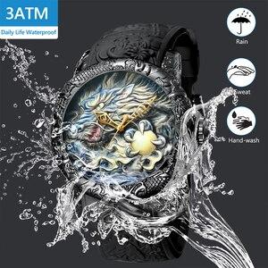 Image 3 - MEGALITH Fashion Dragon Sculpture Watch Men Waterproof Big Dial Quartz Watch Luxury Emboss Men Watch Top Luxury Brand Clock 8041