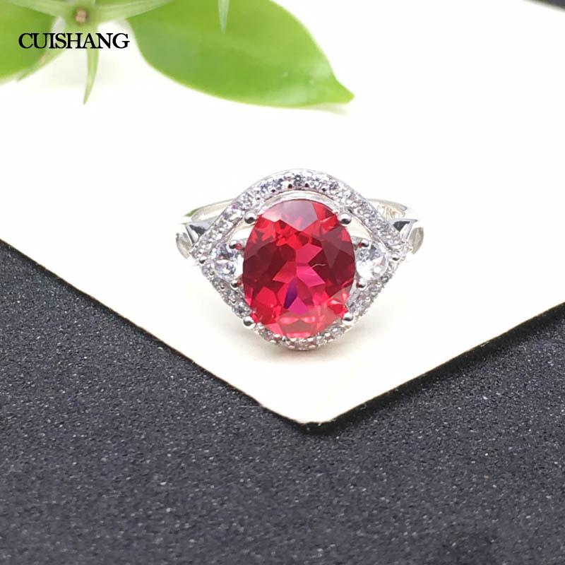 CSJ rubis anneaux 925 bijoux en argent Sterling Creatd pierres précieuses Syn. Ruby bijoux fins bandes de mariage pour les femmes cadeau