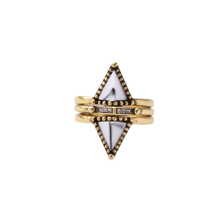 3 Pieces Rings Women Jewelry Vintage Retro Gold Alloy Metal Cross Geometric Triangle Stone Punk Spike Trio Finger Ring Size 6.5