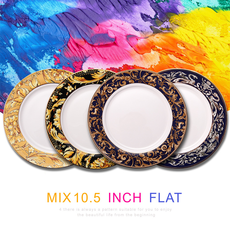 Bone China Food Tray Golden China Dragon Dinnerware Set 10.5inch Flat Plate Ceramic Rounded Serving Plate Golden Edge 1pcs