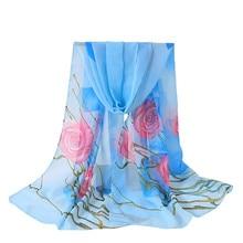 81d559ca8 2018 أزياء النساء الشتاء فام الحرير الشيفون فلسطين الأوشحة زهرة الحرير  الطباعة طويلة لينة التفاف شال