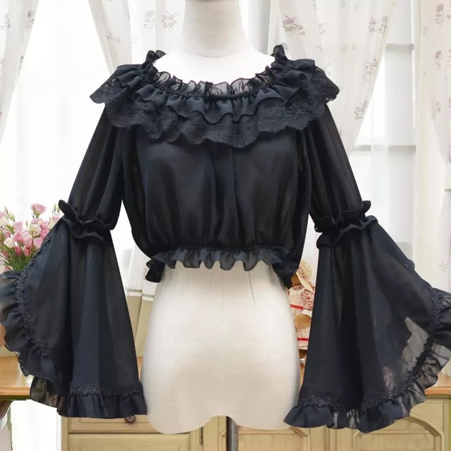 4e9f844ce162 Anime wonder woman cosplay white shirts Ladies lace Chiffon Gothic shirts butterfly  blouse lolita costume Halloween stand blouse