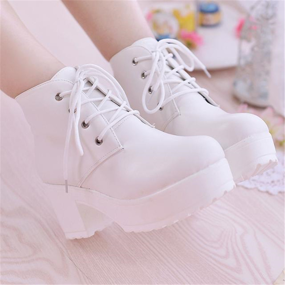 Women Boots Fashion Ankle Martin Shoes Black White Square Thick Heel Platforms Lace up Bonus Female Motorcycle Autumn Winter 2016 new spring and summer fashion thick with the heel lace leisure wild white shoes student shoes for women boots