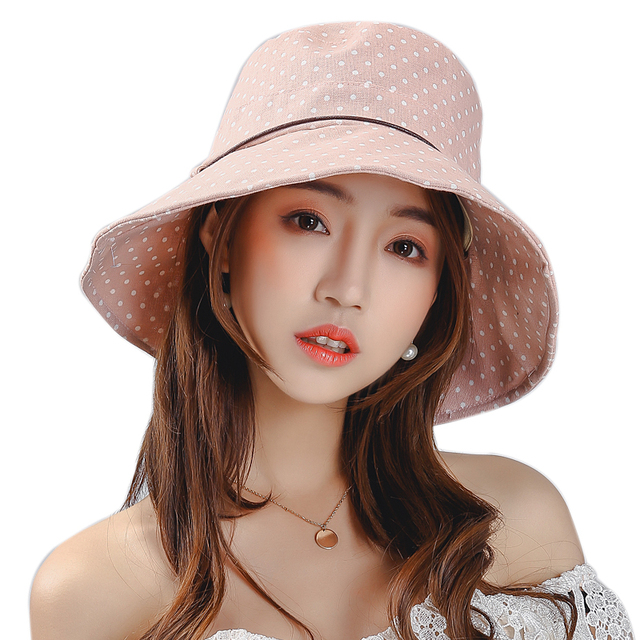 e2eea27f Spring Summer Hat Women Bucket Hat Fabric Cotton Foldable Vocation Beach  Hats Elegant Visor Sun Hat for Woman