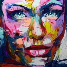 Palette knife painting portrait Face Oil Impasto figure on canvas Hand painted Francoise Nielly 14-67