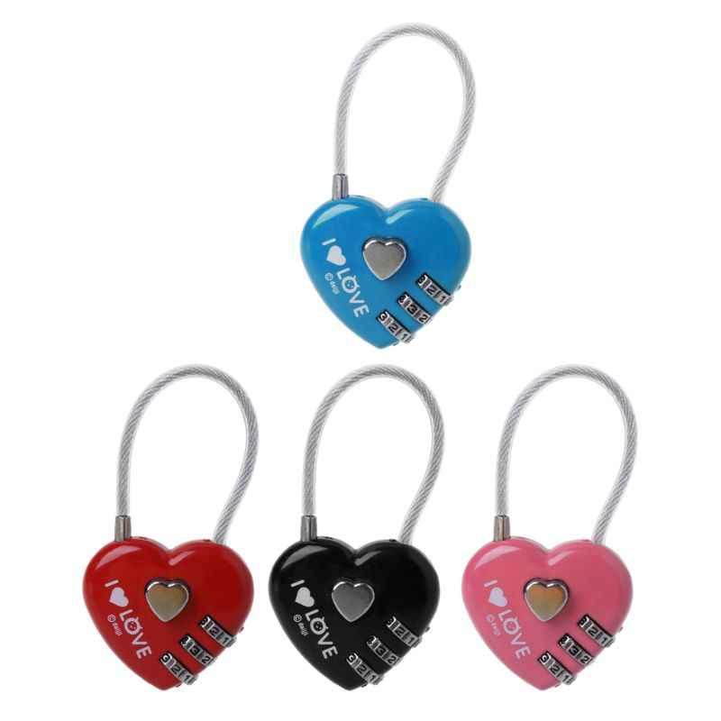 1ac57426111f 4 Color Mini Heart Lock Travel Luggage 3 Digit Combination Padlocks  Suitcase Security Parts 7x3cm831F