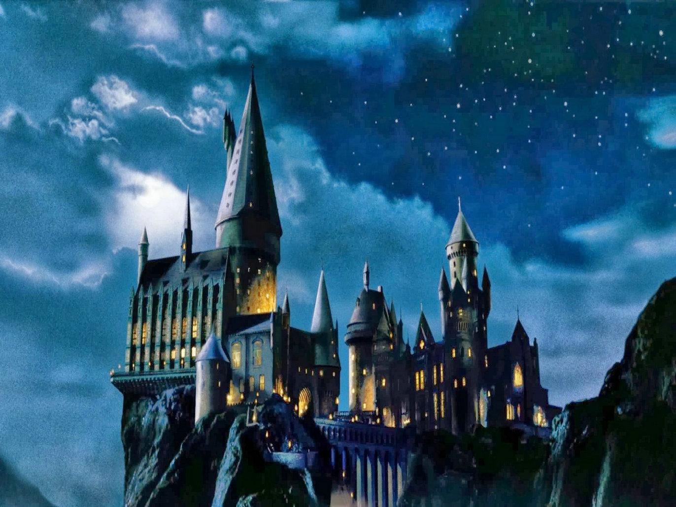 harry potter hogwarts castle night fantasy background high