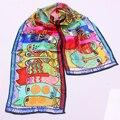 Fashion Scarf Silk 100% Multipurpose Kids Women Girl for Bag Hair Cartoon Cat Design Gift Good Feeling Scarves