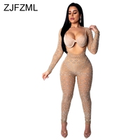 Reversible Rhinestones Black Bodysuit Women Deep V Neck Long Sleeve Bandage Jumpsuit Streetwear Perspective Night Party Overall