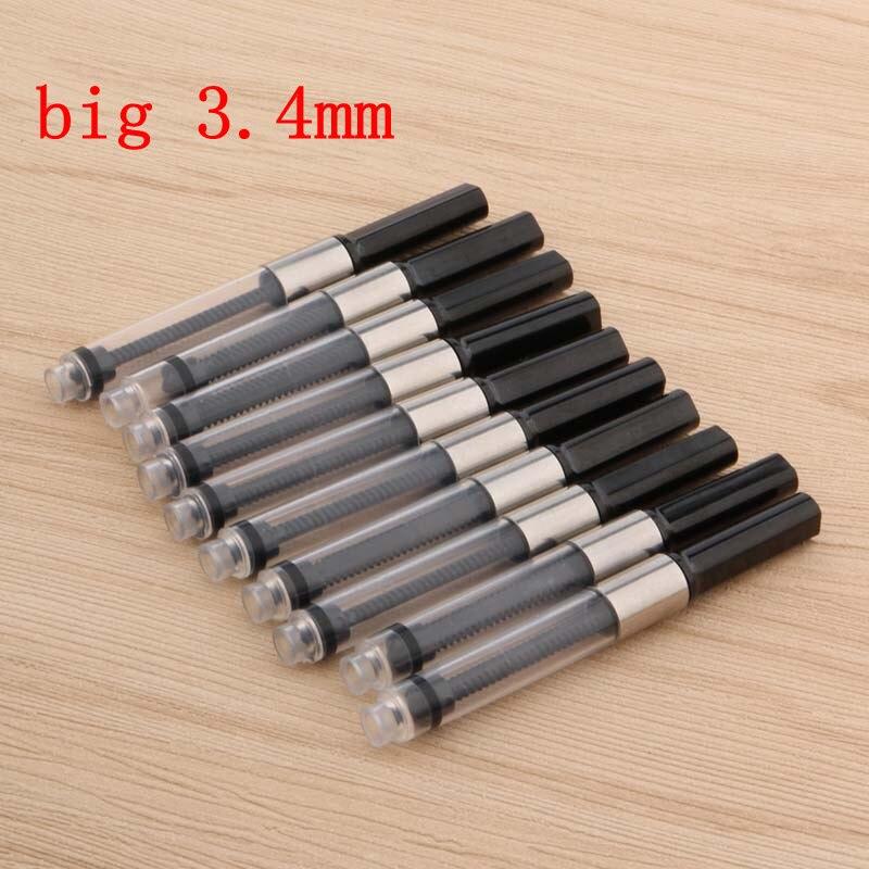 10pcs 3.4mm Metal Black Silver Big Fountain Pen Ink Refill Cartridges