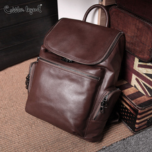 Cobbler Legend Men Genuine Leather Backpack High Quality Travel Rucksack School Bag Male Laptop Business Bagpack Shoulder Bags недорого
