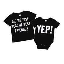 Newborn Baby Boy Short Sleeve Romper Cute Big/Little Brother Short Sleeve T-shirt Matching Tops Clothes(China)