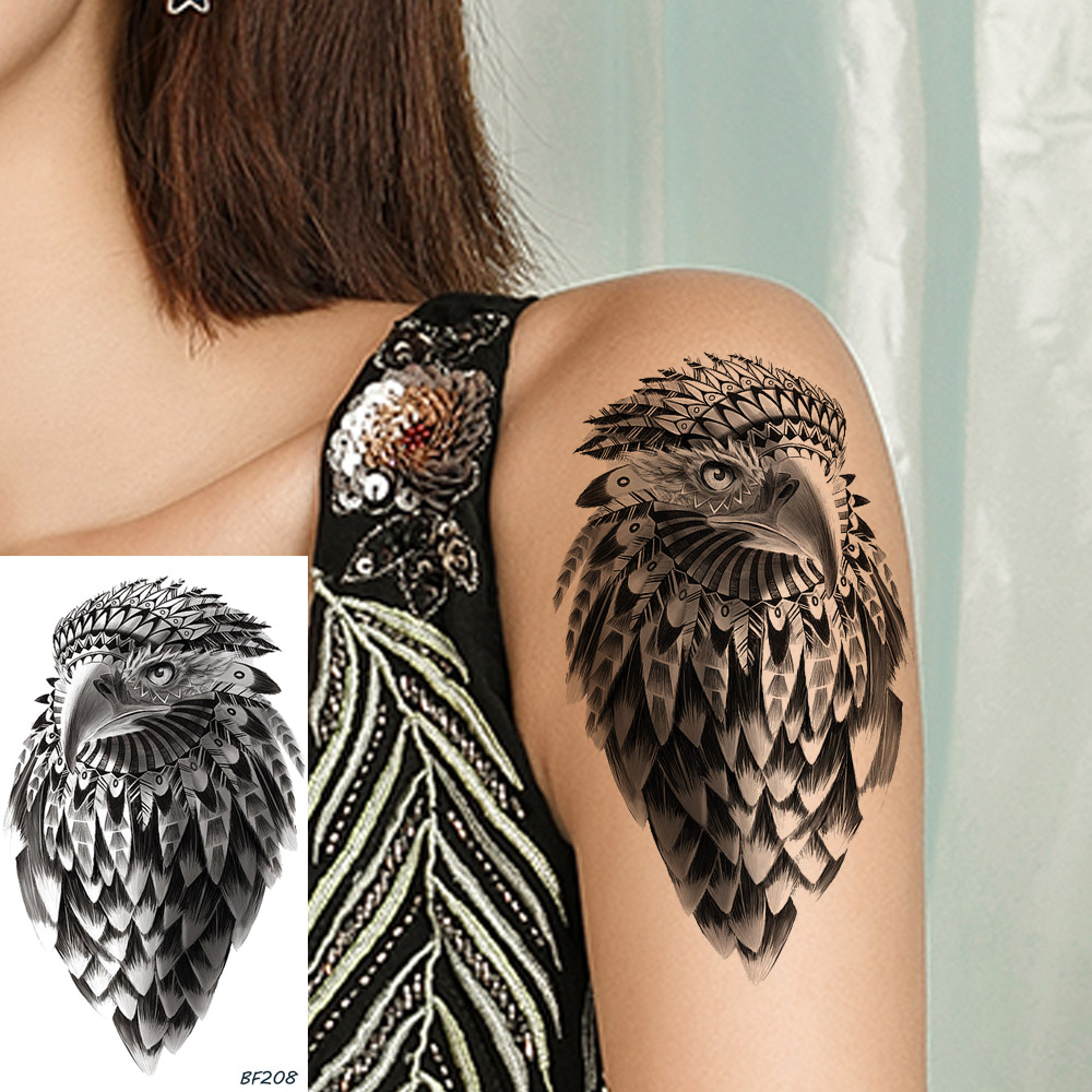 Black Eagle Tattoo Stickers Girl Body Art Arm Temporary Tattoo Indians Tribal Feather Waterproof Tatto Women Neck Owl Disposable(China)