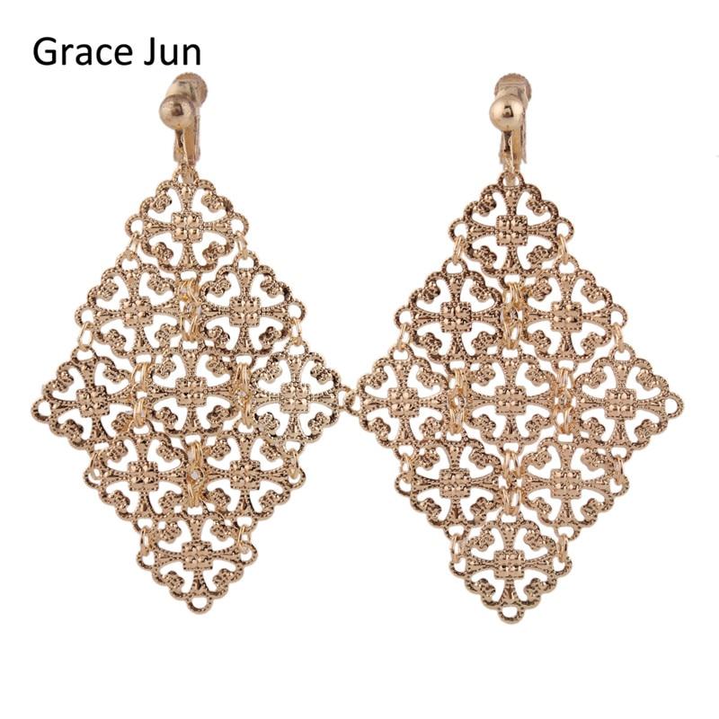Grace Jun 2017 New Arrival Handmade Gold Color Clip on Earrings Wihtout Piercing for Women Party Elegant Earrings Christmas Gift
