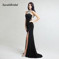 Glitter Long Black Modest Evening Dresses With Stones 2017 Sexy High Split Open Back Mermaid Evening