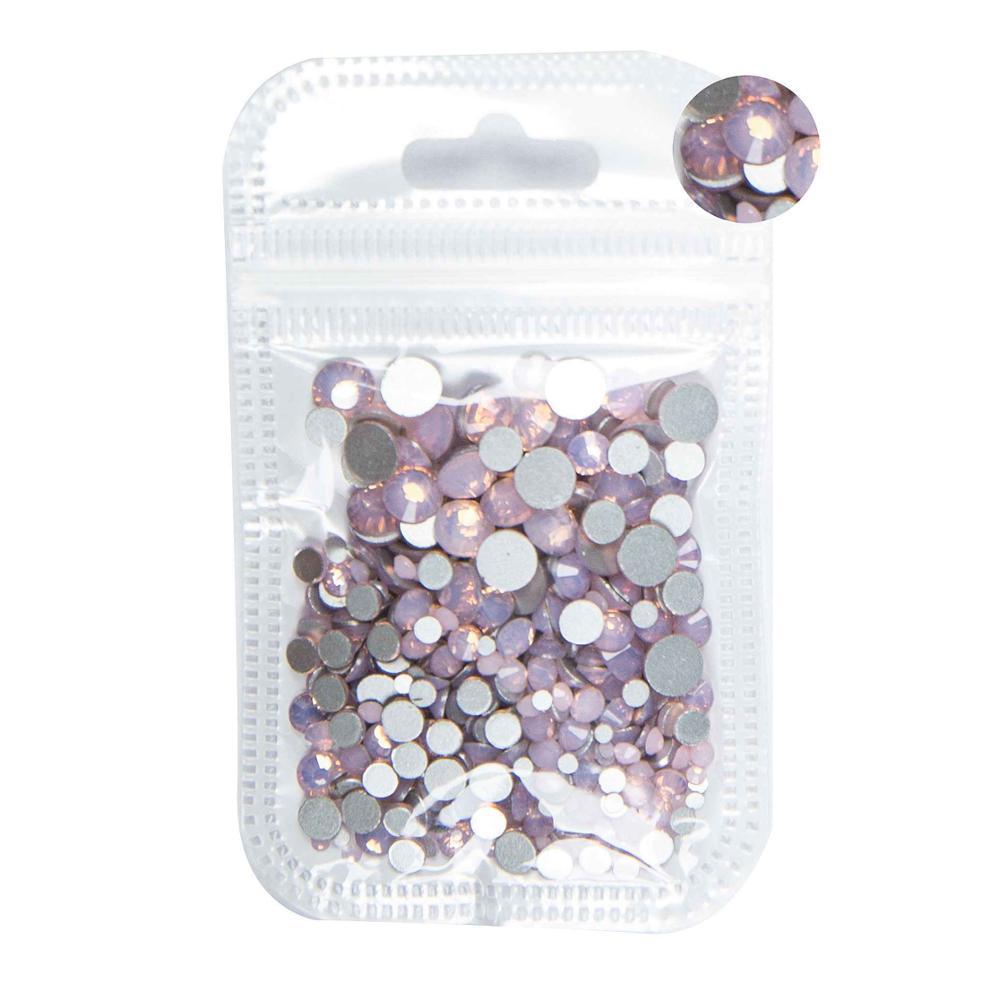 350 шт, 5 грамм, смешанные размеры, ss3-ss30, синий/зеленый/розовый/белый опал, 3D хрустальные стразы для дизайна ногтей, плоские с оборота стеклянные украшения для ногтей - Цвет: Pink Opal