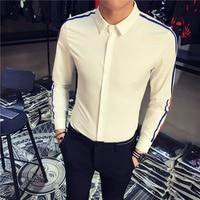 2017 New Arrival Men Shirt Striped Long Sleeve Slim Fit Shirt Male Black White Korean Style