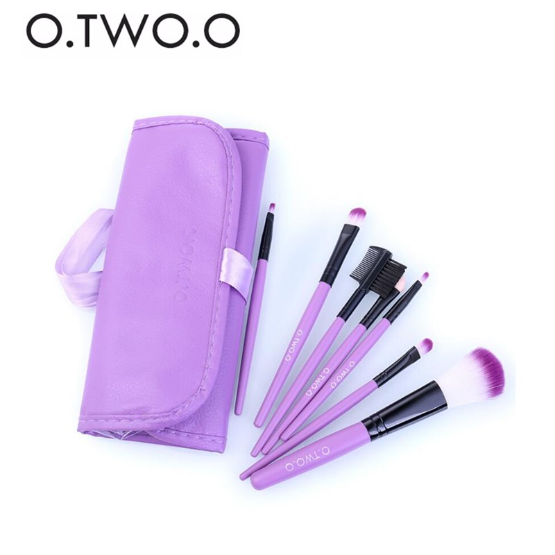 O.TWO.O Hot 7pcs Makeup Brushes Soft Brush Head Lips Eye Shadow with Leather Case Multi-function