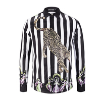 Seestern brand new fashions men's shirt printed striped leopard dance women fashion western style youth man long sleeved shirts