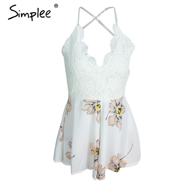 Simplee Apparel Strap white lace elegant jumpsuit romper Sexy backless chiffon summer playsuit Women boho floral