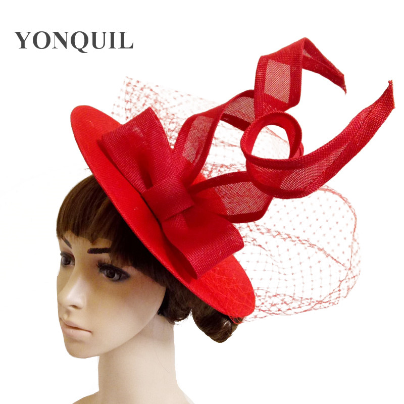 Large 30CM Red Round Fascinator Base Wedding Velling Hair Accessory Party Cocktail Hats Imitation Linen Birdcage Veil Headwear